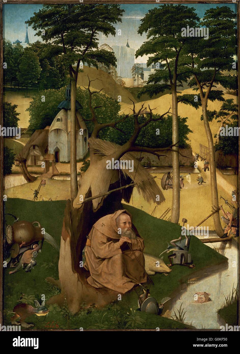 Jérôme Bosch (c.1450-1516). Peintre hollandais. La Tentation de Saint Antoine, c.1490. Musée du Prado. Photo Stock