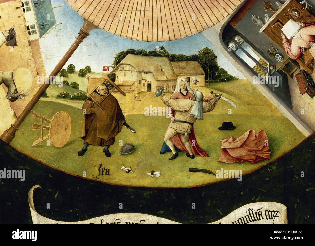 Jérôme Bosch (c.1450-1516). Peintre hollandais. Le tableau des sept péchés capitaux. Détail Photo Stock
