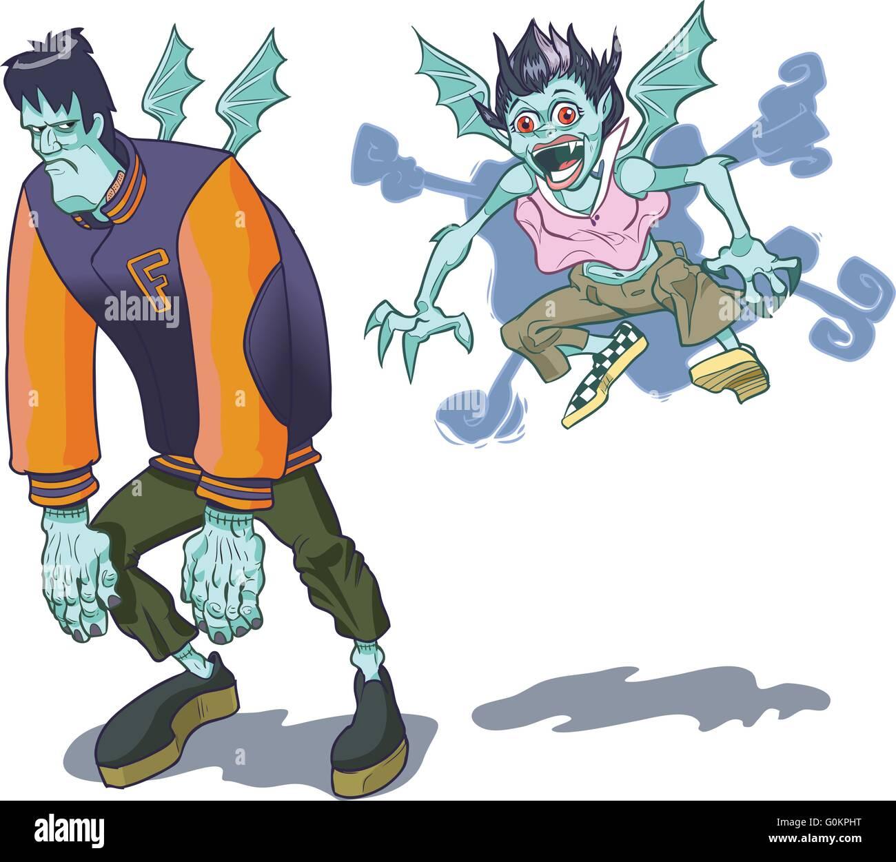 Les versions d'un dessin animé (Frankenstein) monster et sa petite amie vampire. Illustration de Vecteur
