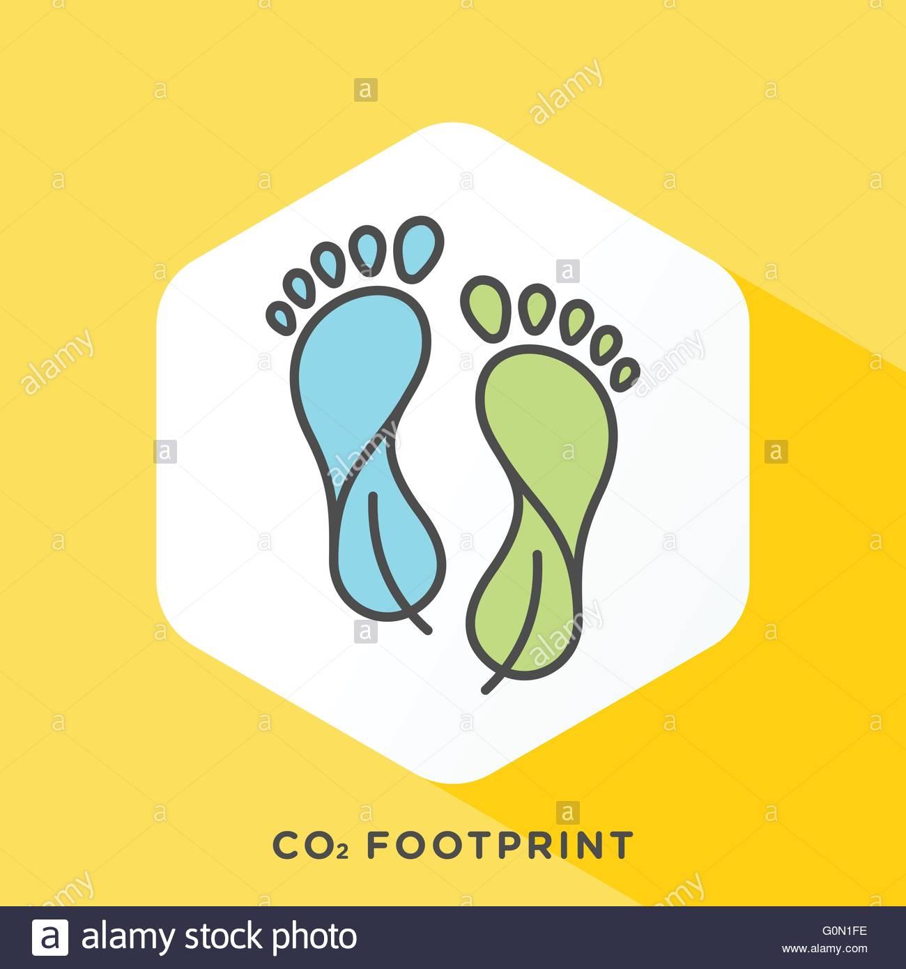 Style moderne et épuré vector illustration pour la compensation carbone, la réduction de l'empreinte Photo Stock