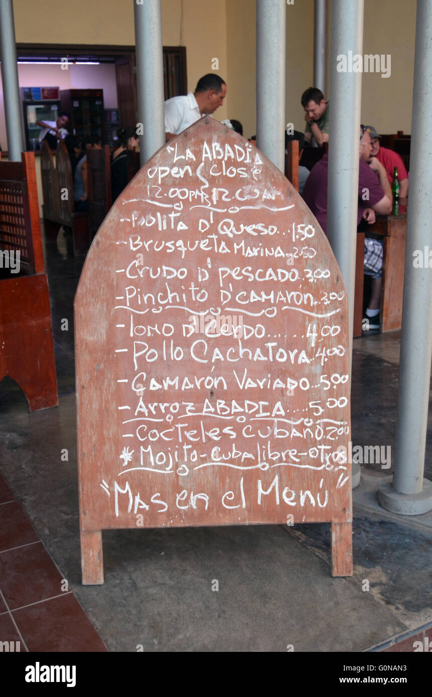 Menu de restaurant, Malecon, La Havane, Cuba 2016 Photo Stock