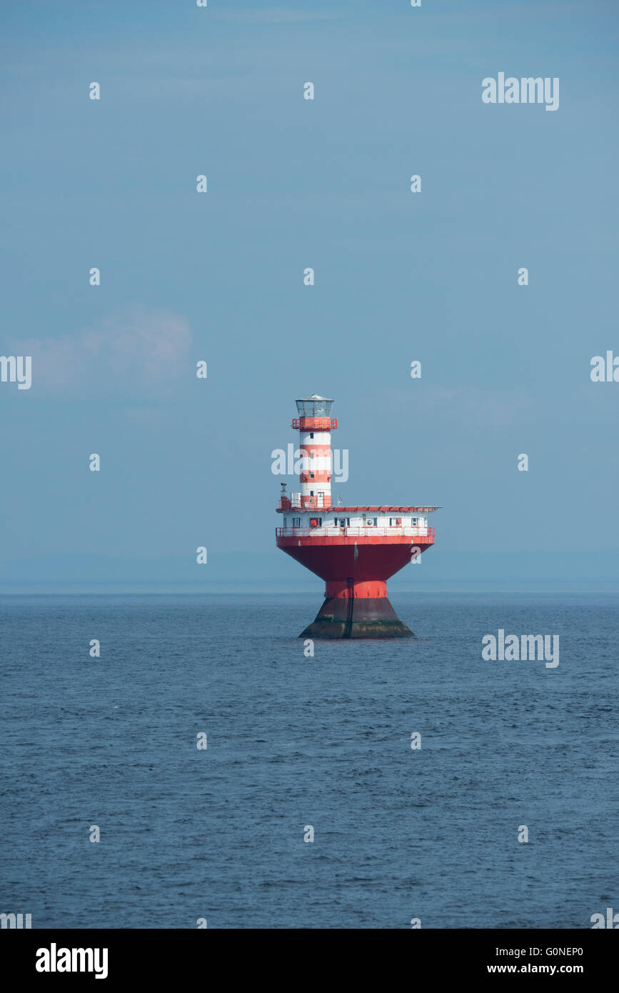 Canada, Québec, Saguenay, Saguenay-St. Lawrence Marine Park. Le phare du haut-fond Prince aka Haut-fond Prince. Photo Stock