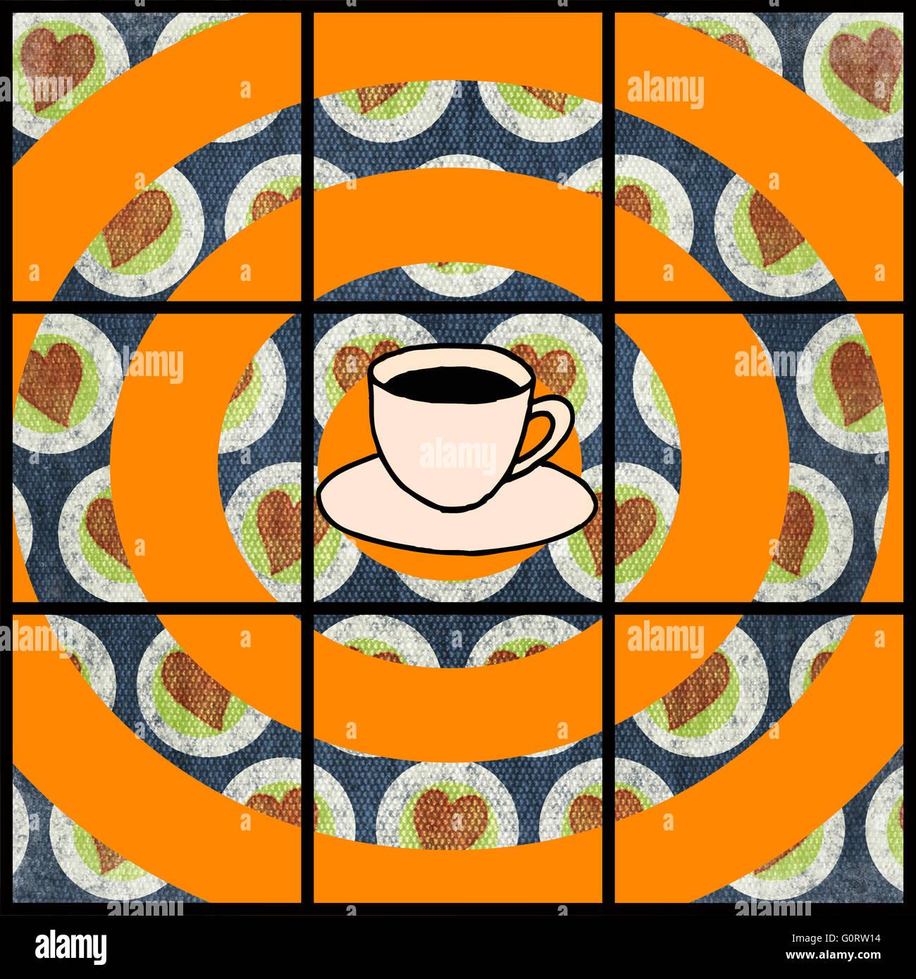 Tasse de café isolé sur l'arrière-plan de les cercles orange et les petits coeurs avec des carrés Photo Stock