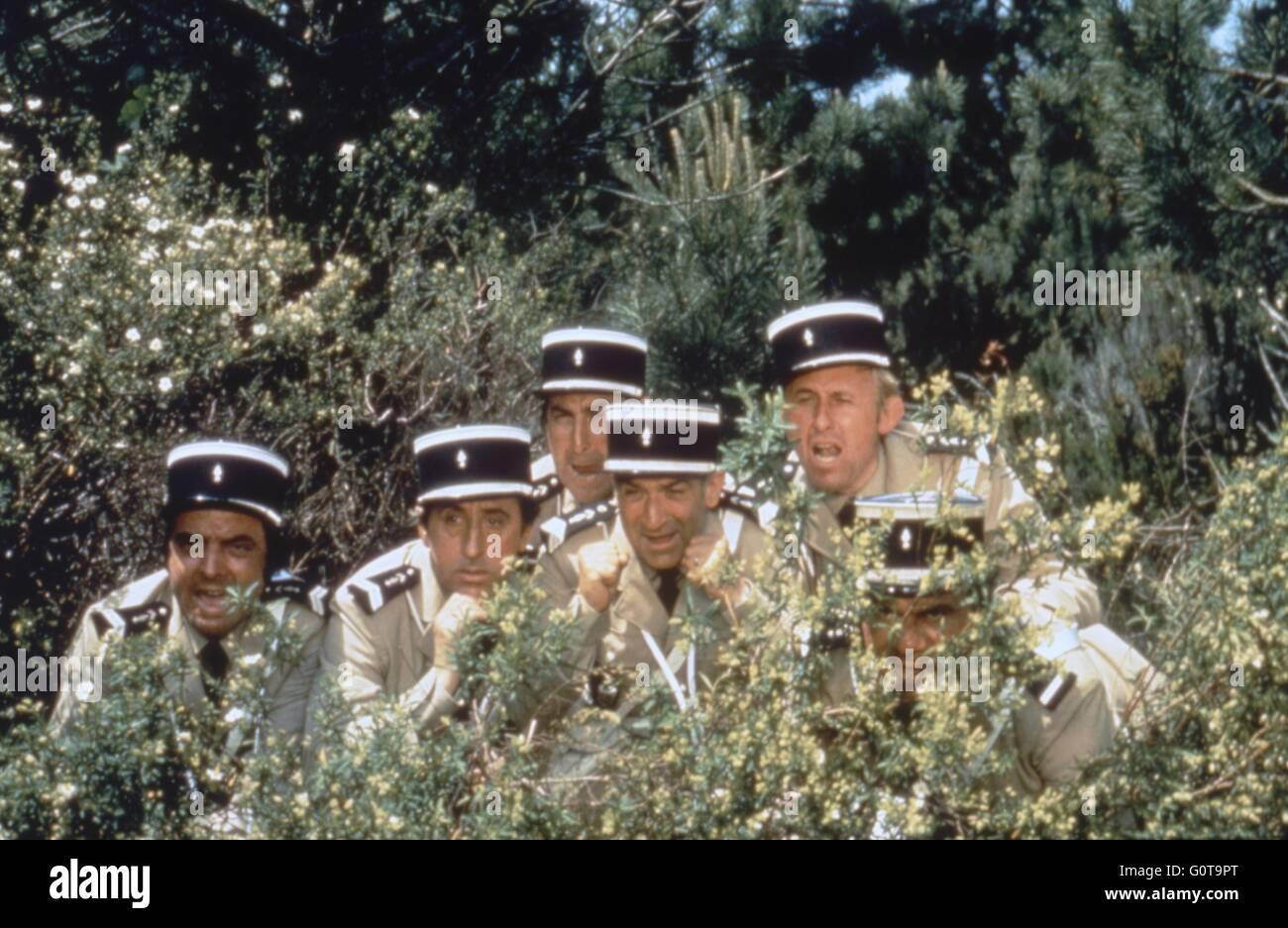 Michel Modo, Jean Lefebvre, Guy Grosso, Louis de Funes, Christian Marin et Michel Galabru / les troupes en vacances Banque D'Images