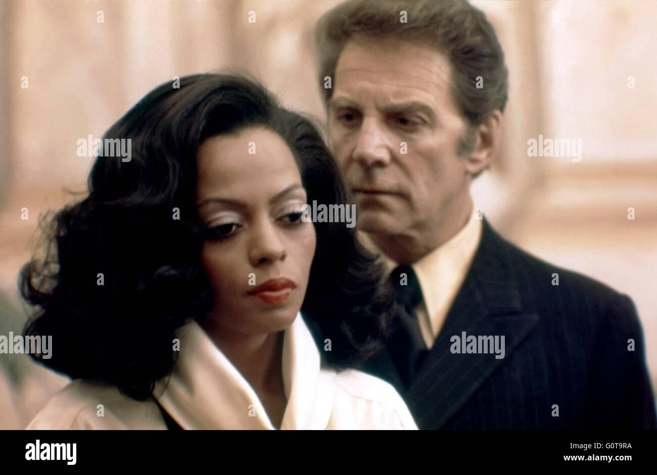 Diana Ross et Jean-Pierre Aumont / Acajou / 1975 réalisé par Berry Gordy et Tony Richardson (Motown Productions / Nikor Productions / Paramount Pictures) Banque D'Images