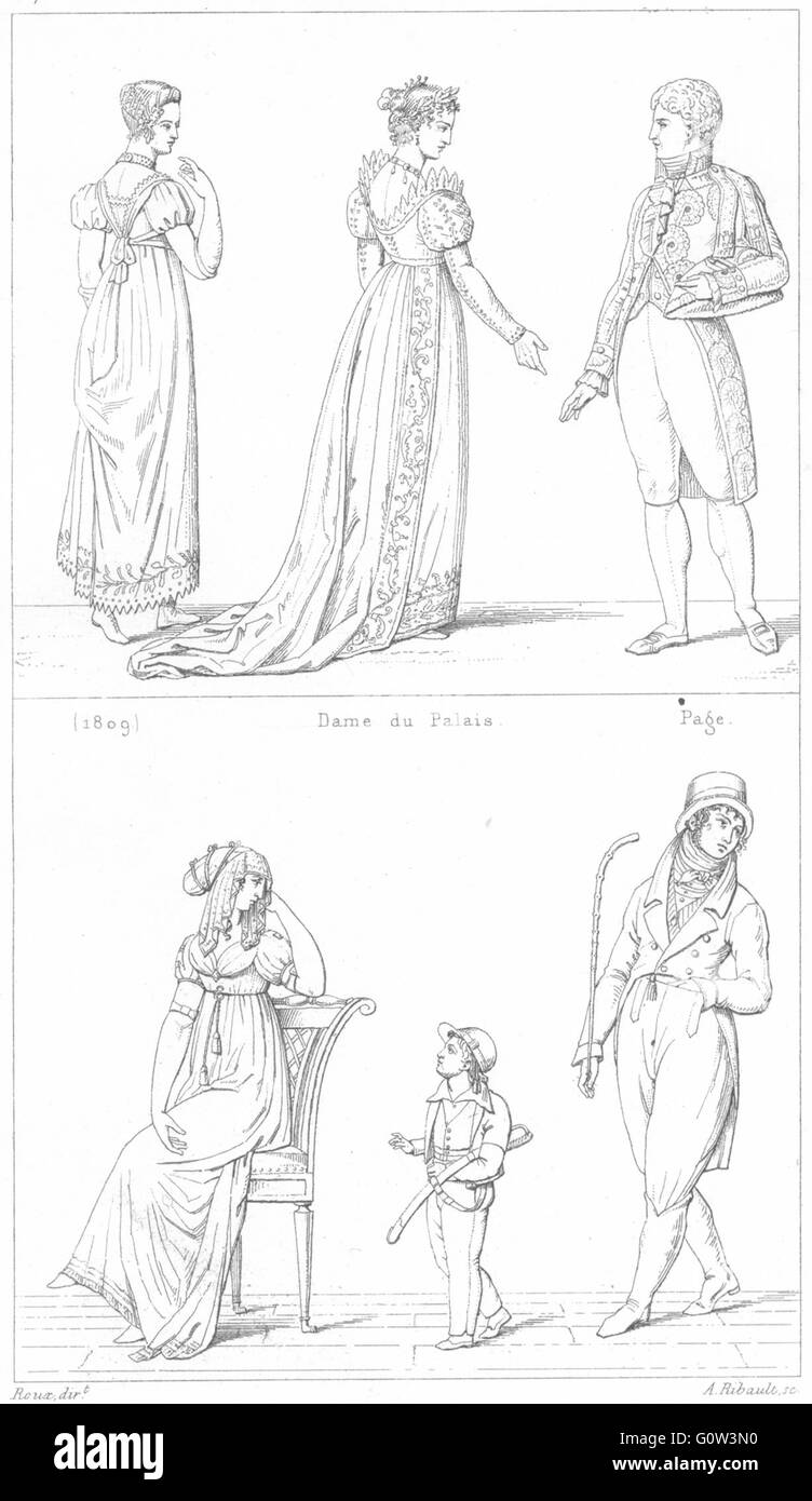 FRANCE: Costumes: (1809), Dame du Palais; page; Modes(1801), vieille imprimer 1875 Photo Stock