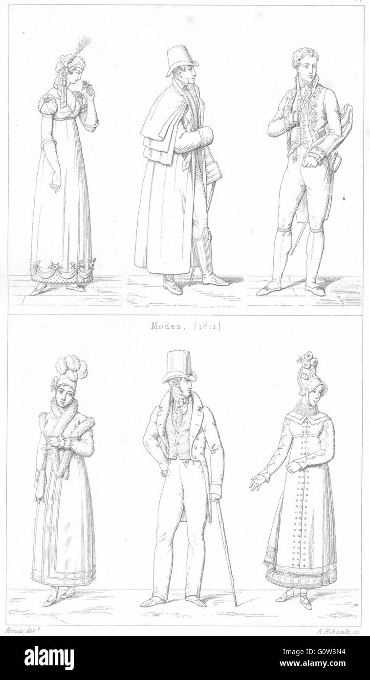 FRANCE: costumes: Modes(1811); Modes(1811), antique print 1875 Photo Stock