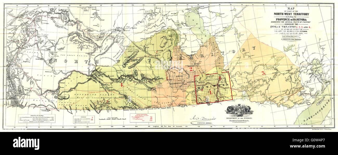 Carte Canada Manitoba.Canada Territoires Du Nord Ouest Manitoba Cedes Traites Indiens
