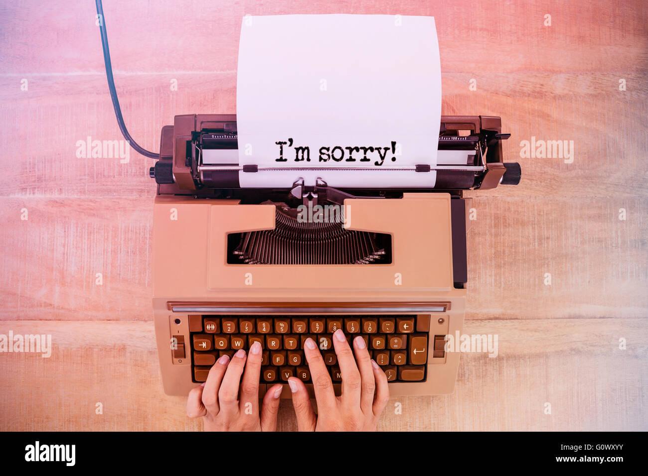 Image composite de la phrase Je suis désolé against white background Photo Stock