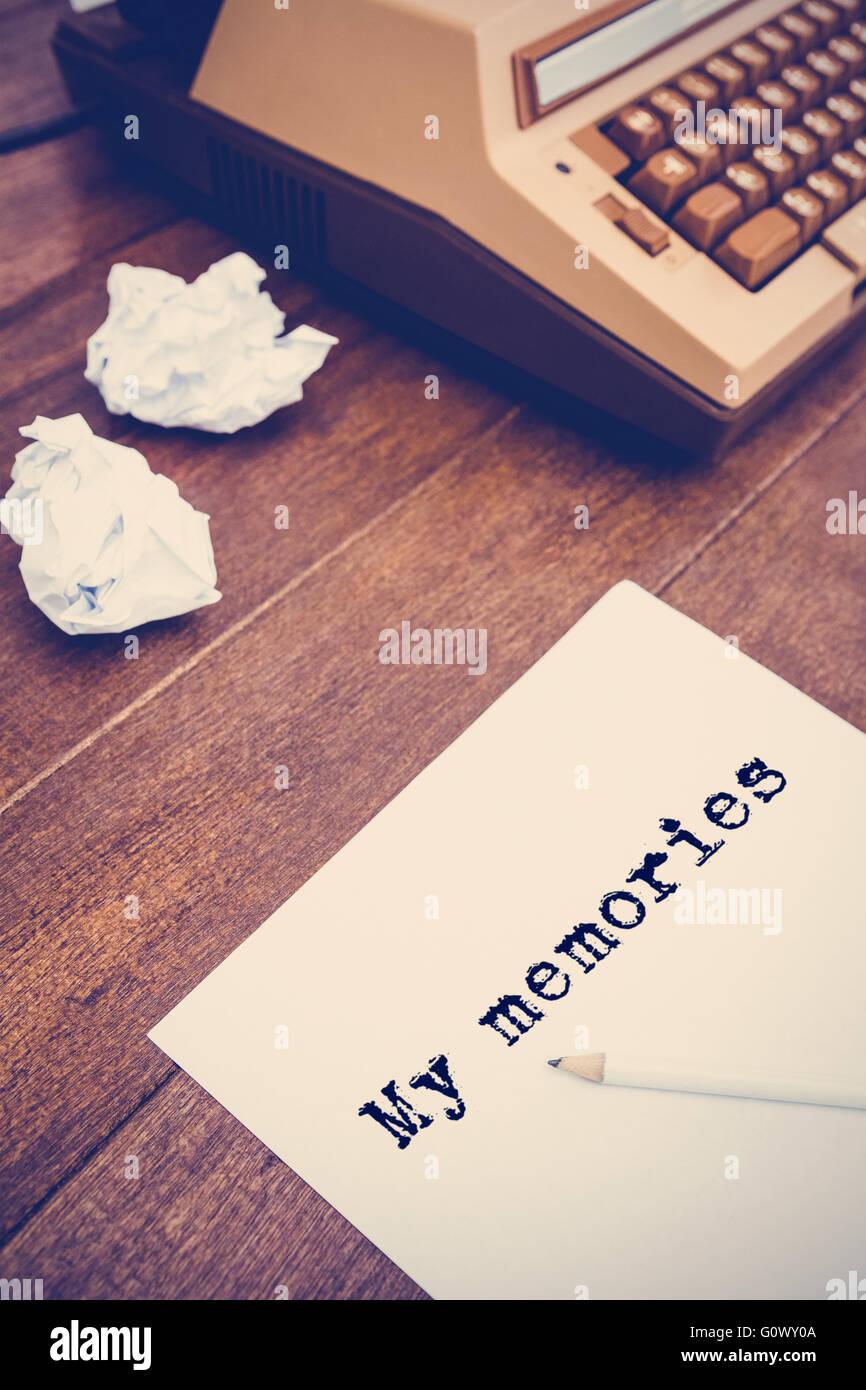 Image composite de la parole mes souvenirs contre fond blanc Photo Stock