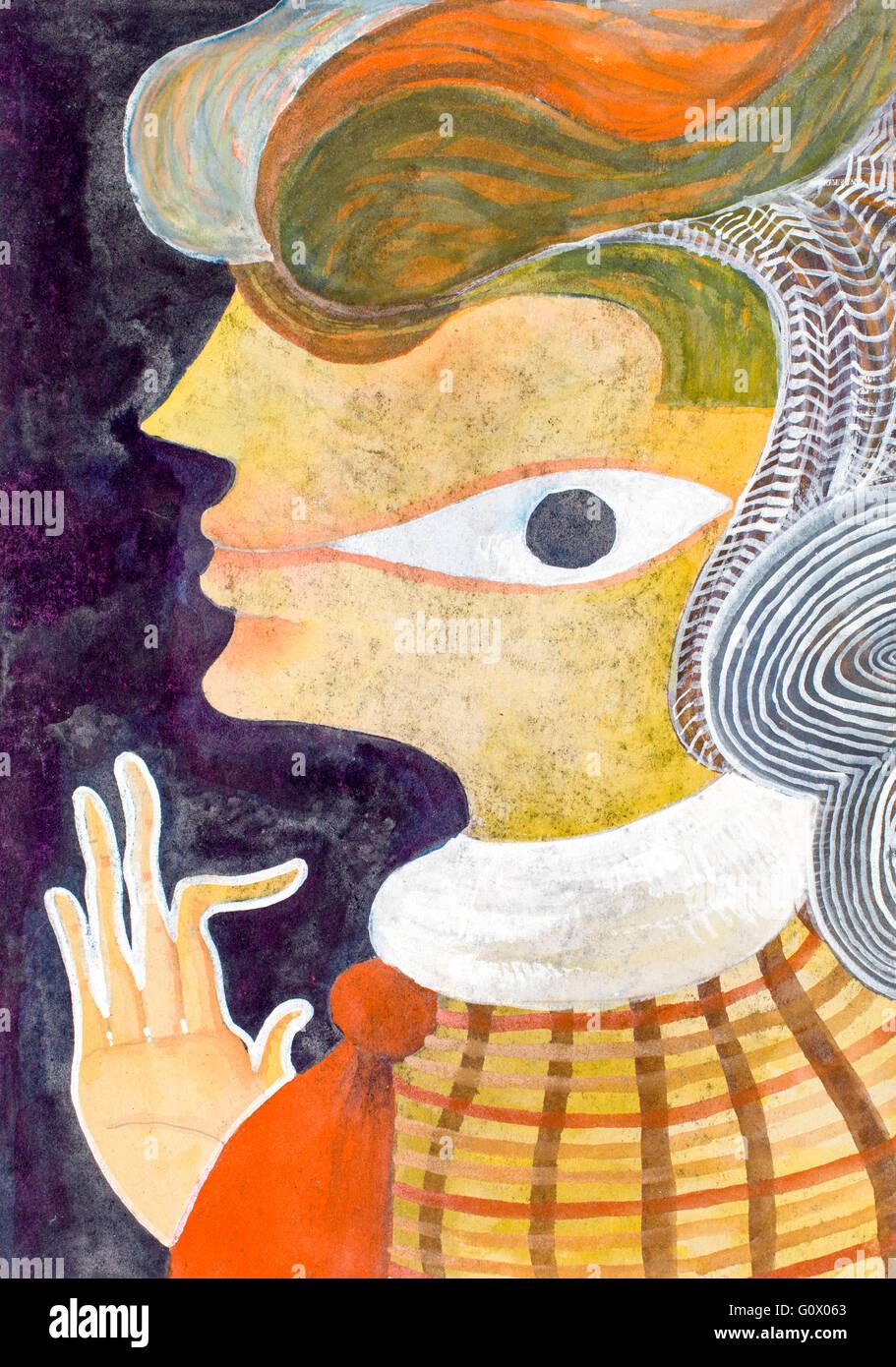 Visage De Femme Dans La Peinture Aquarelle Signification Symbolique Pas Des Yeux Physiques Mais Le Troisieme Oeil Lisse Dans La Joue Photo Stock Alamy