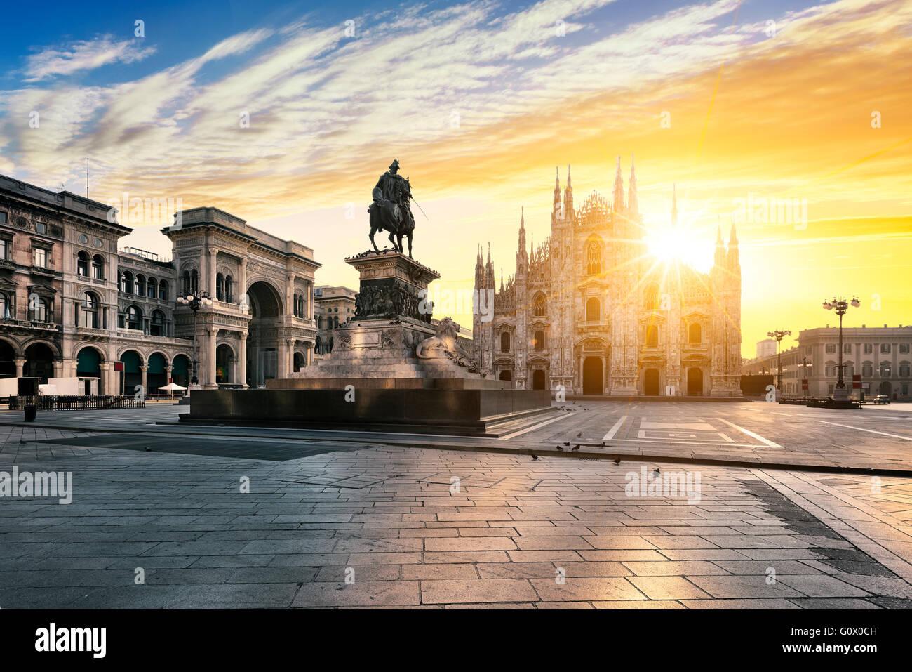 Duomo au lever du soleil, Milan, Italie, Europe. Photo Stock