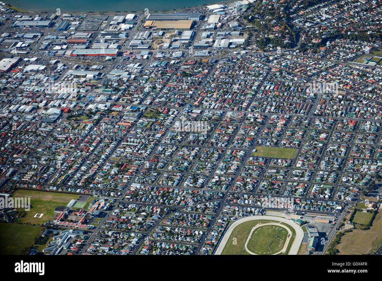 Forbury Park Raceway, Saint Kilda, South Dunedin, Otago, île du Sud, Nouvelle-Zélande - vue aérienne Banque D'Images