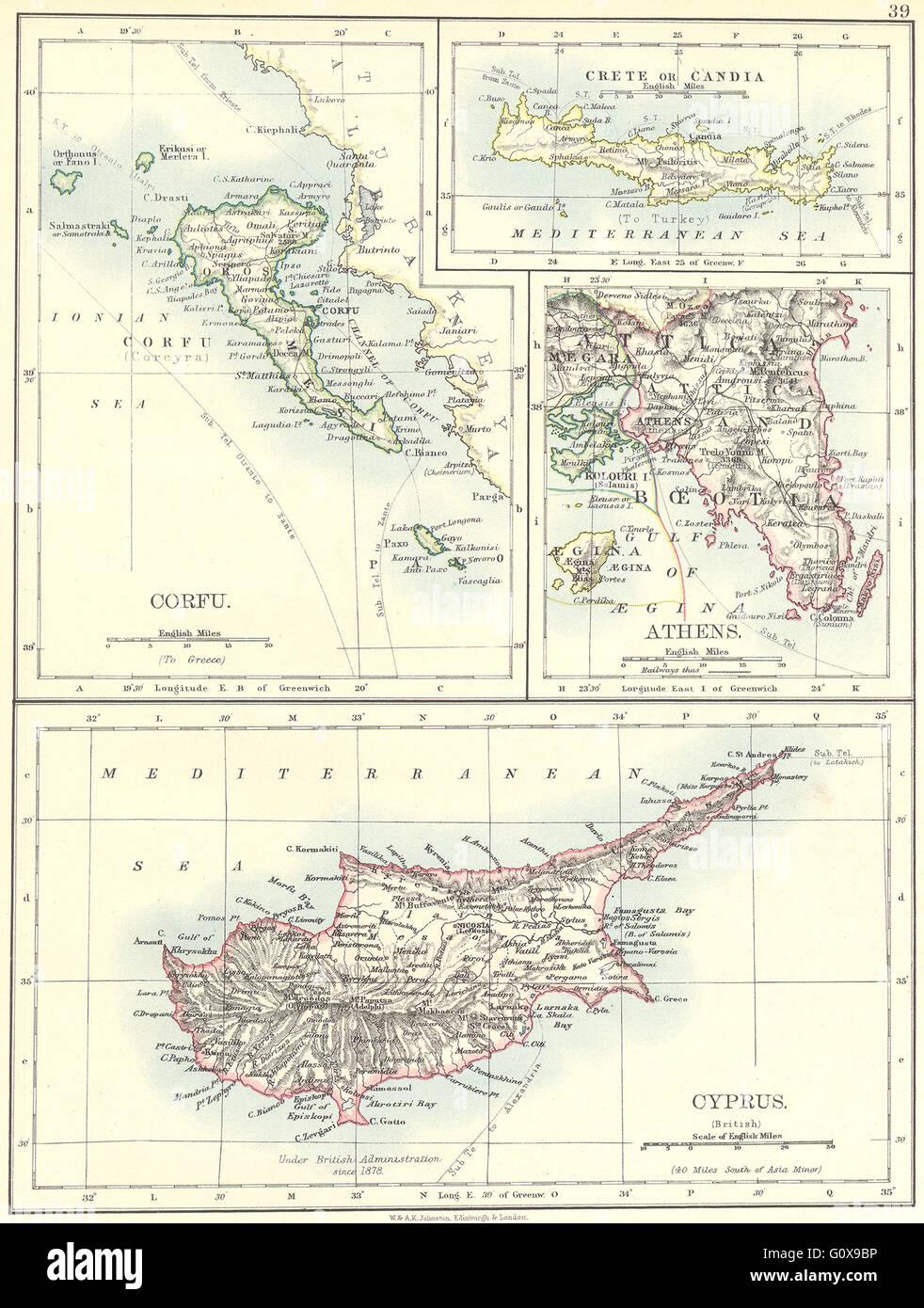 Carte Chypre Crete.Grece Corfou Crete Ou Candia Athenes Chypre 1897