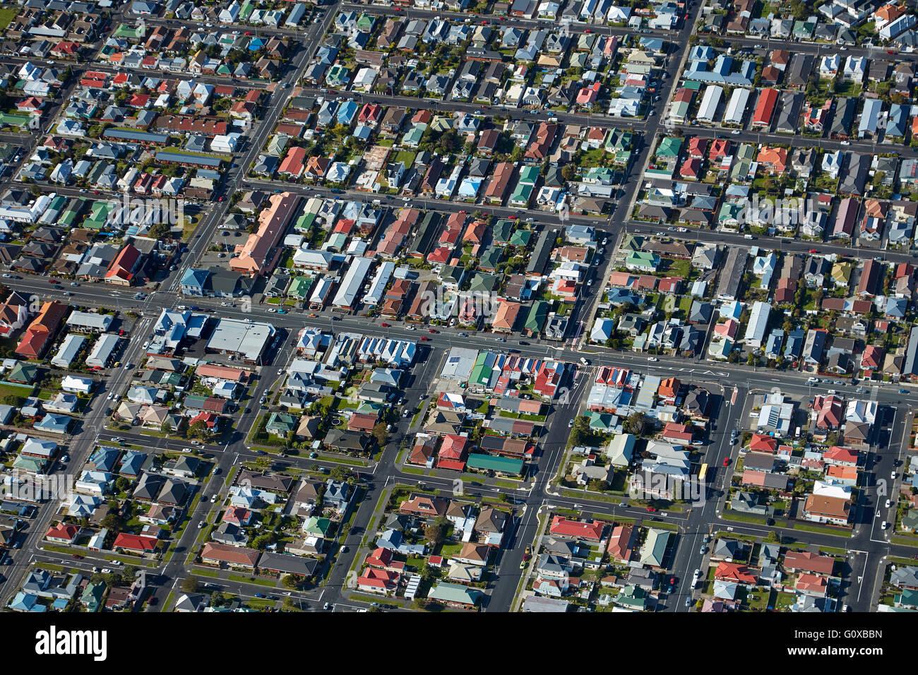 Prince Albert Road, St Kilda, Dunedin, Otago, île du Sud, Nouvelle-Zélande - vue aérienne Banque D'Images