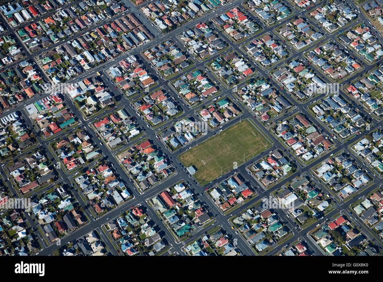 De Carle Park, St Kilda, Dunedin, Otago, île du Sud, Nouvelle-Zélande - vue aérienne Banque D'Images
