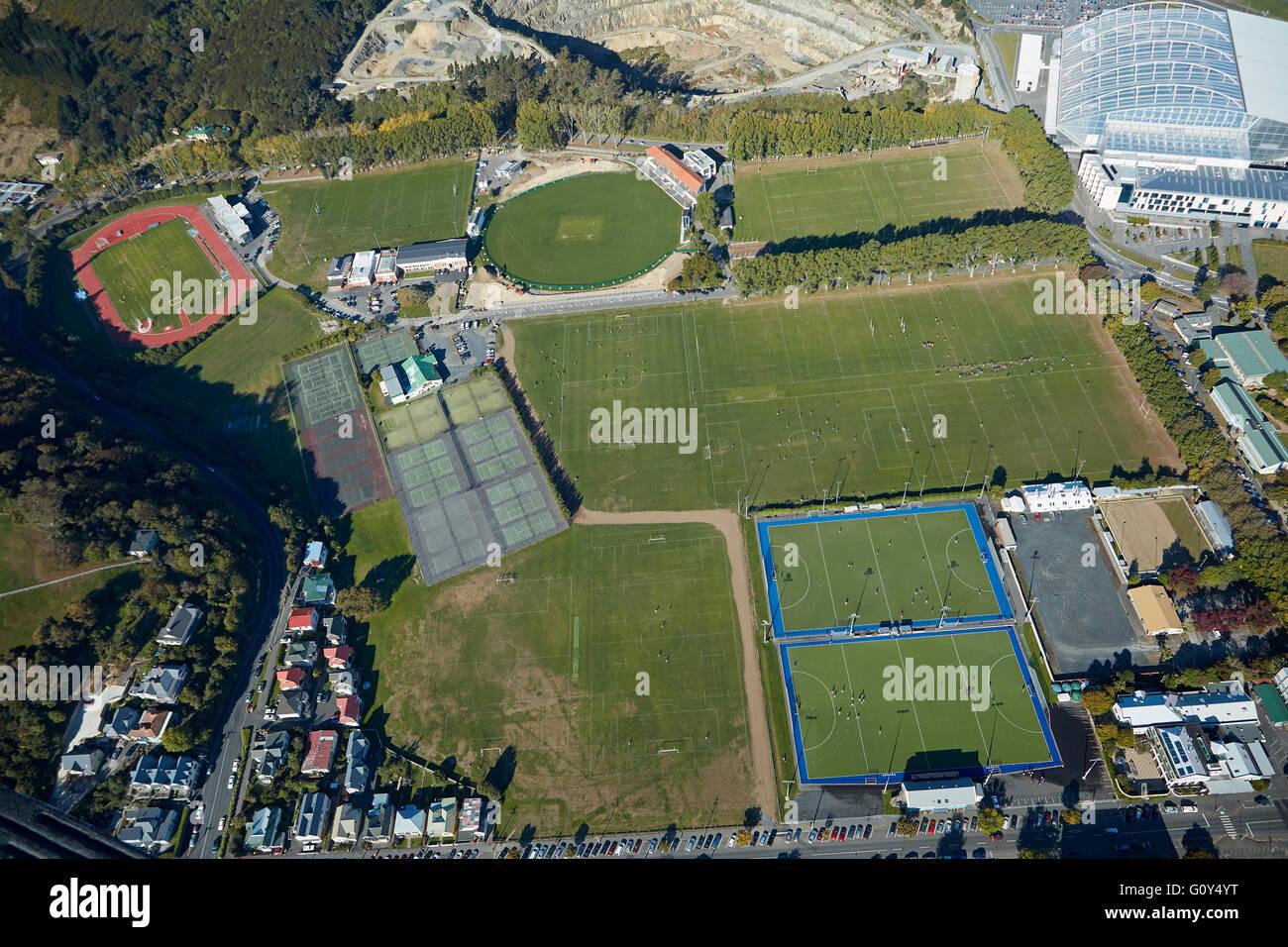 Des terrains de sport à Logan, parc et Forsyth Barr Stadium, Dunedin, île du Sud, Nouvelle-Zélande Photo Stock
