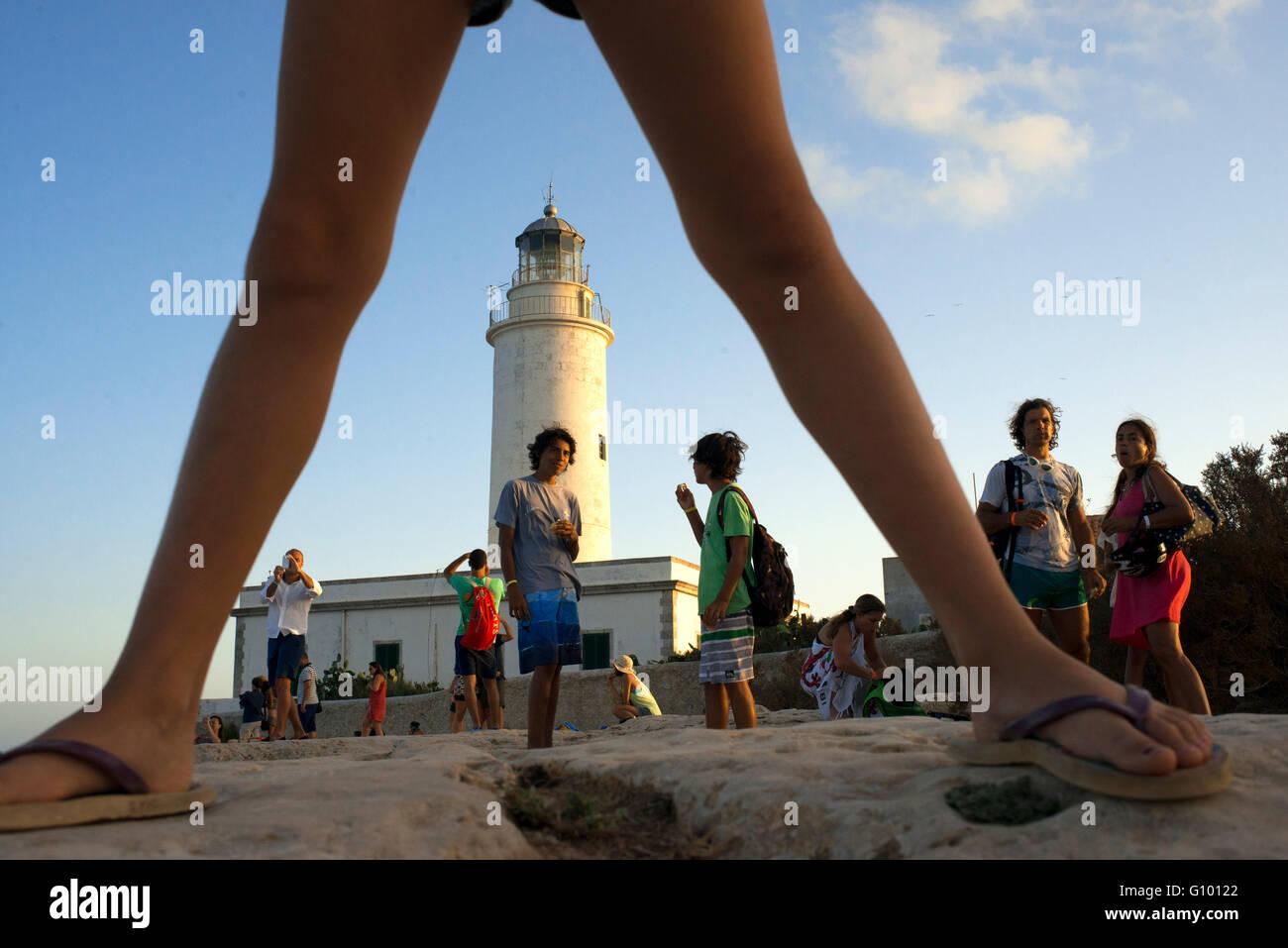 Le coucher du soleil. Leuchtturm, Faro de la Mola, Formentera, Pityuses, Iles Baléares, Espagne, Europe Photo Stock