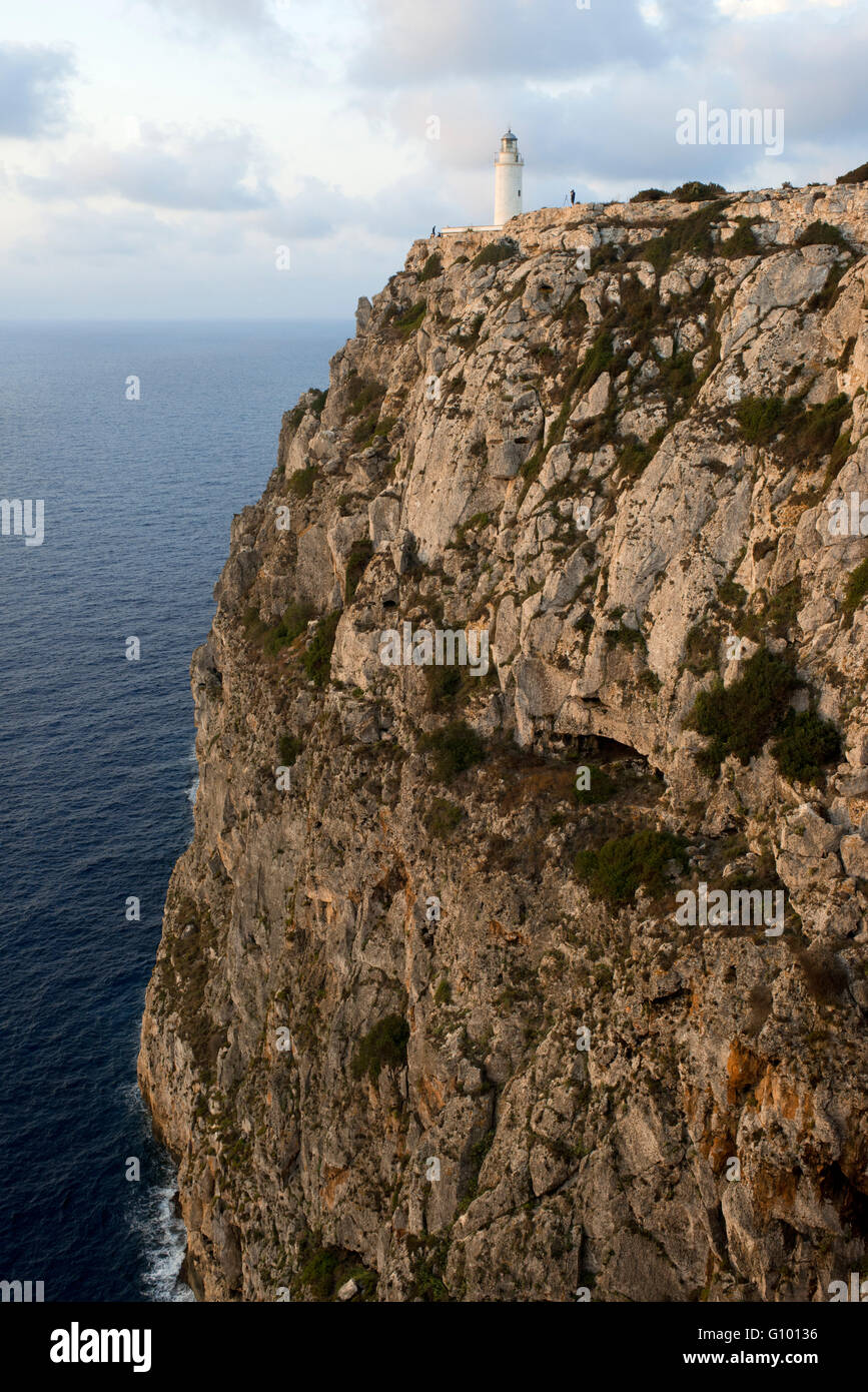 Le lever du soleil. Phare de La Mola, Faro de la Mola, Formentera, Pityuses, Iles Baléares, Espagne, Europe Photo Stock
