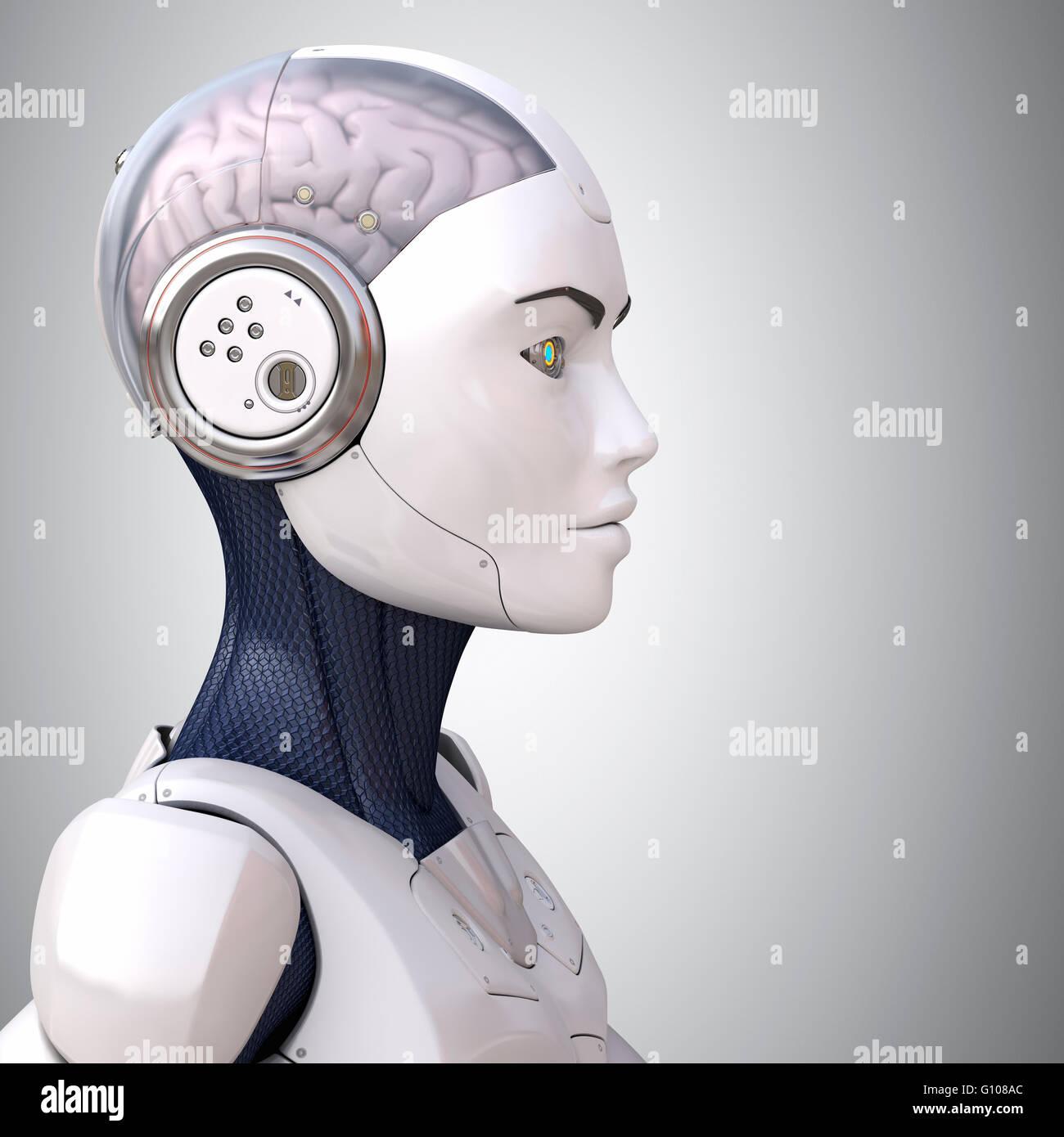 La tête du robot dans le profil Photo Stock