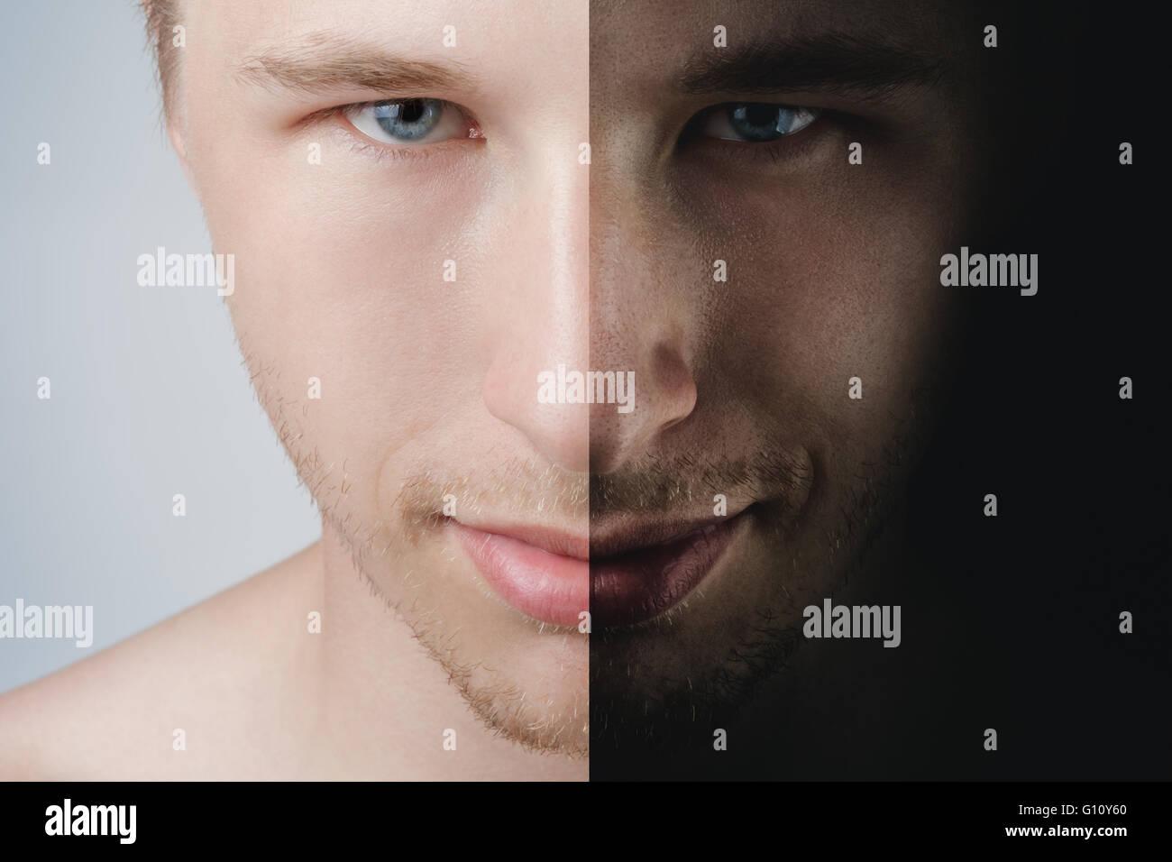 Portrait de l'homme deux parties concept Photo Stock