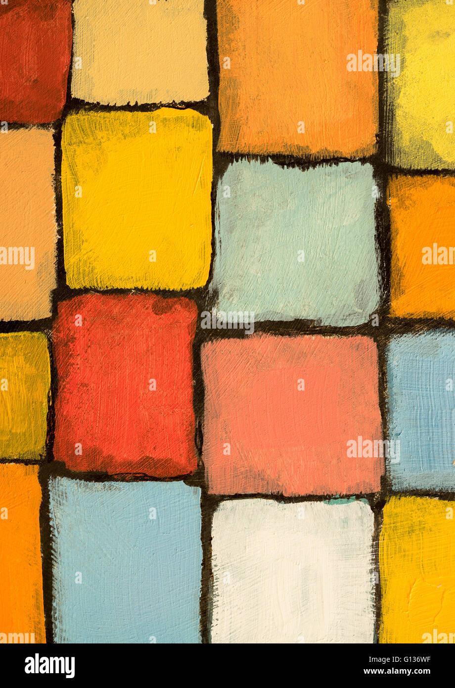 Un détail d\'une peinture ; blocs de couleur chaude Banque D\'Images ...