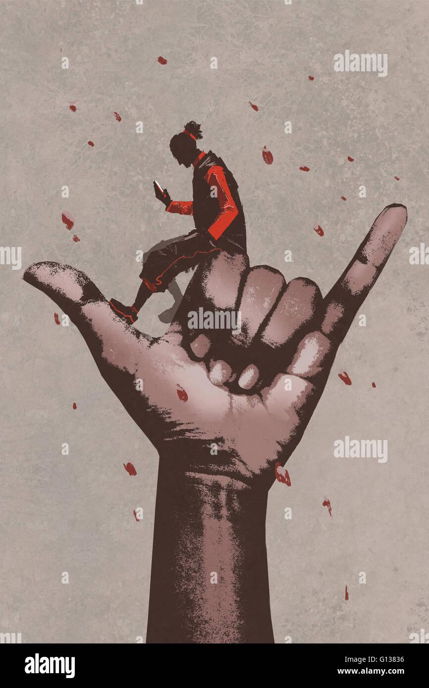 Grosse main en signe Appelez-moi avec l'homme à l'aide de mobile phone,illustration peinture Photo Stock