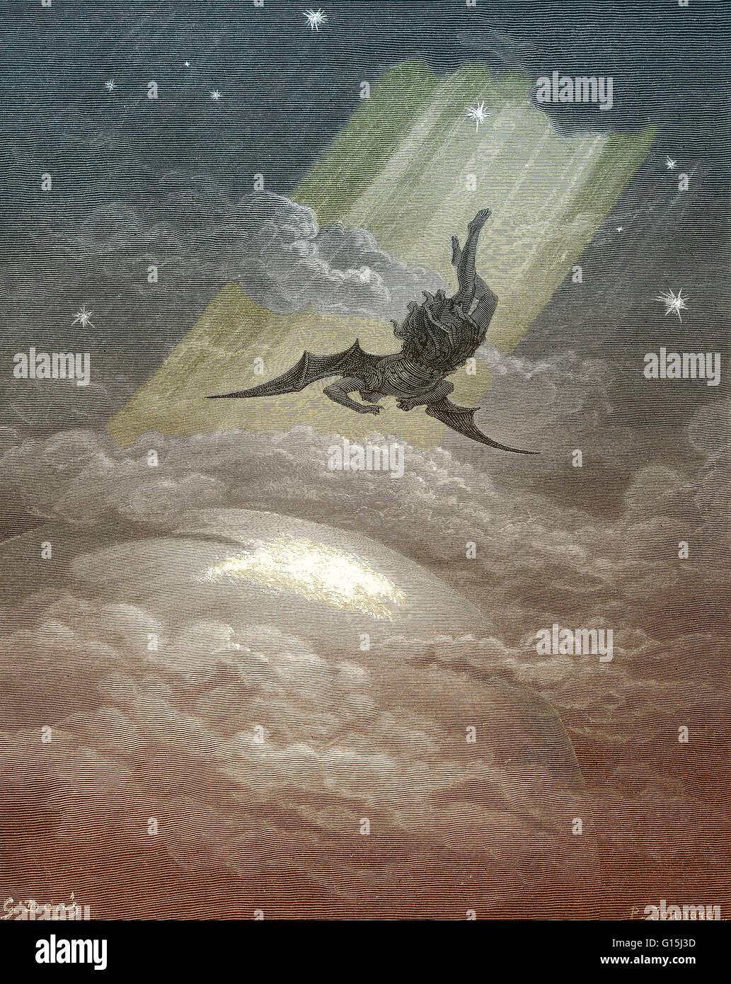 """Une illustration de Satan sur la terre, vol de John Milton's Paradise Lost, Livre 3, lignes 739-41: """"vers la côte Banque D'Images"""