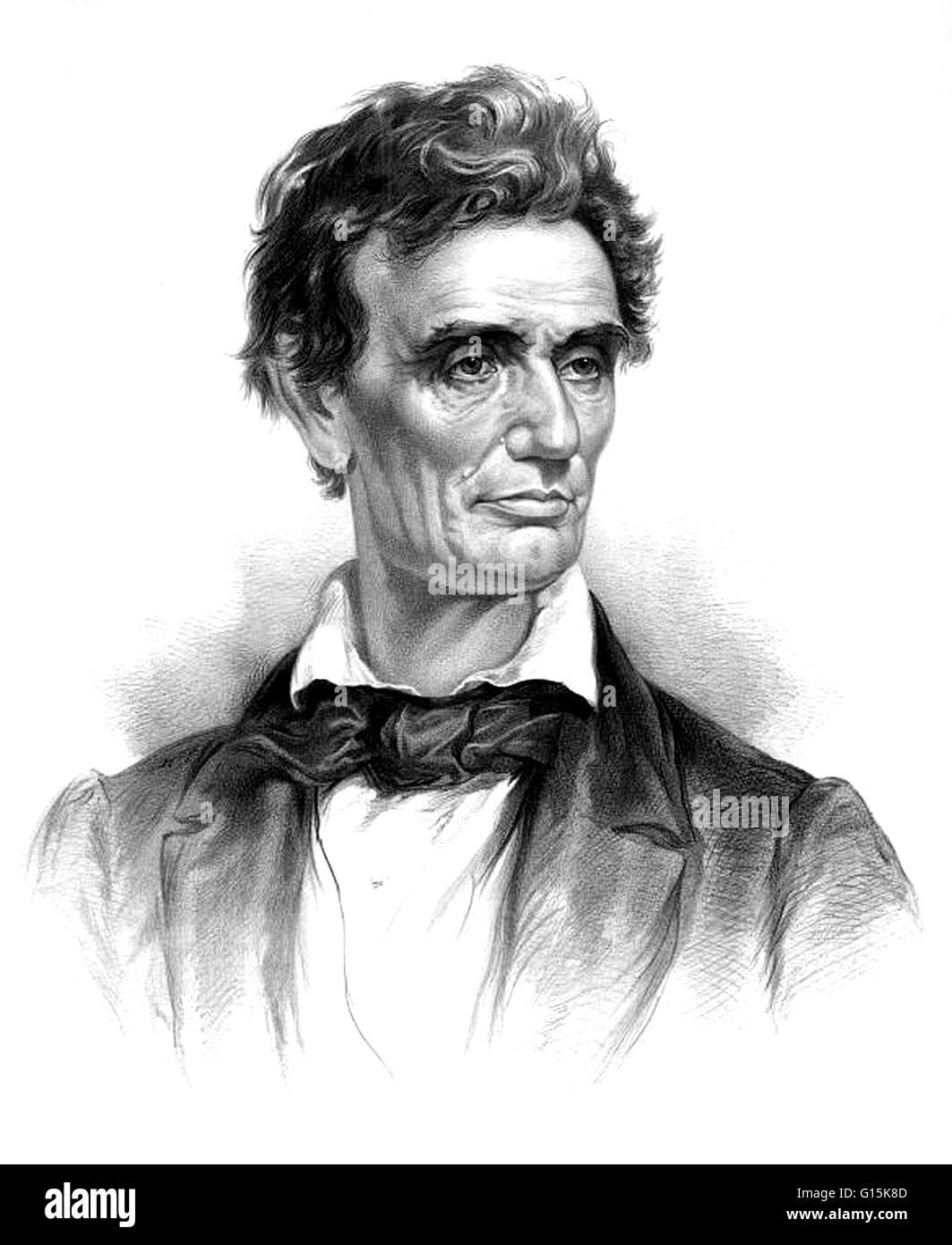 Abraham Lincoln (12 février 1809 - 15 avril 1865) a été le 16e président des États-Unis, Photo Stock