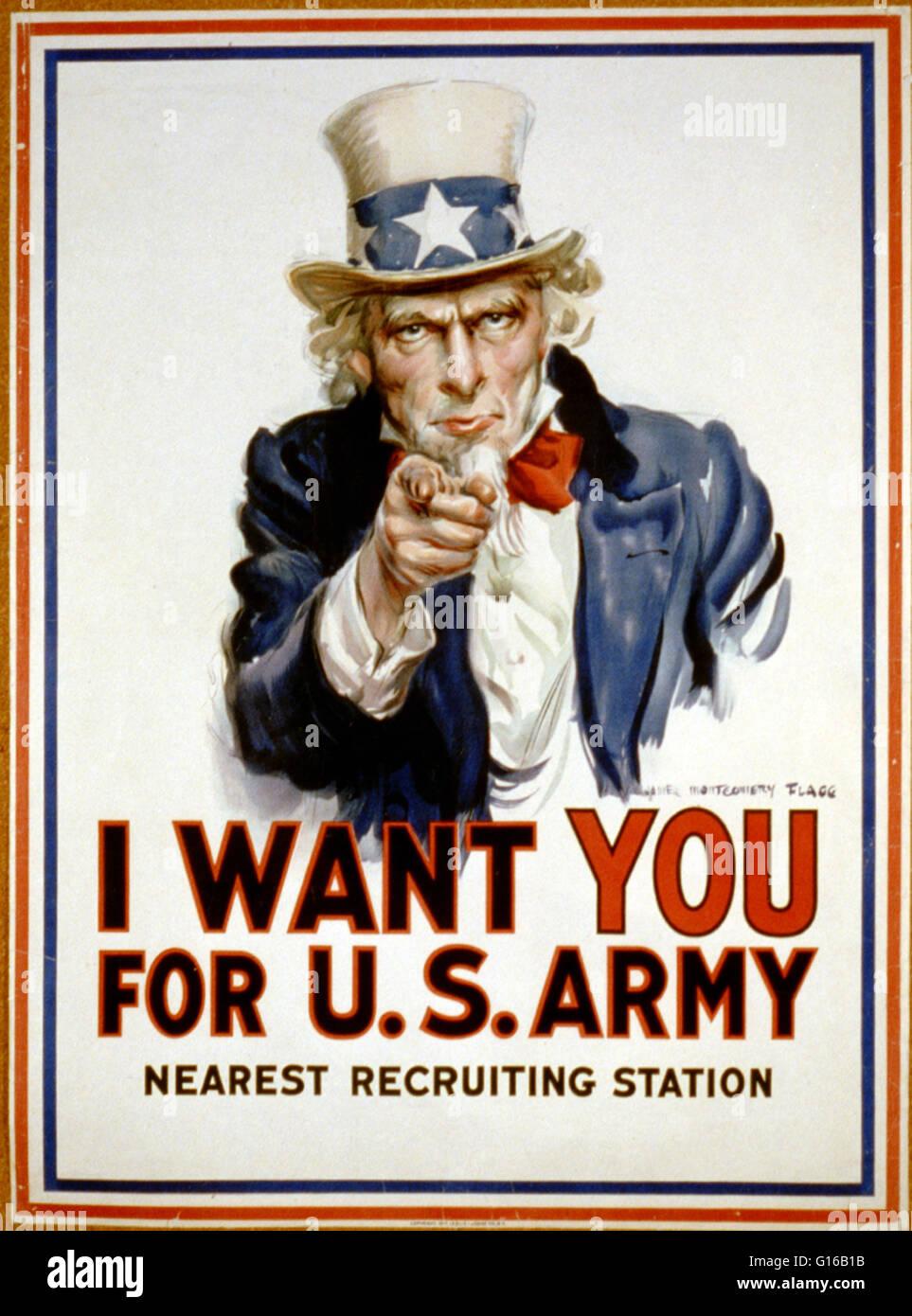 Affiche pour 'Je veux que vous pour l'ARMÉE AMÉRICAINE' montre l'Oncle Sam pointant son Photo Stock