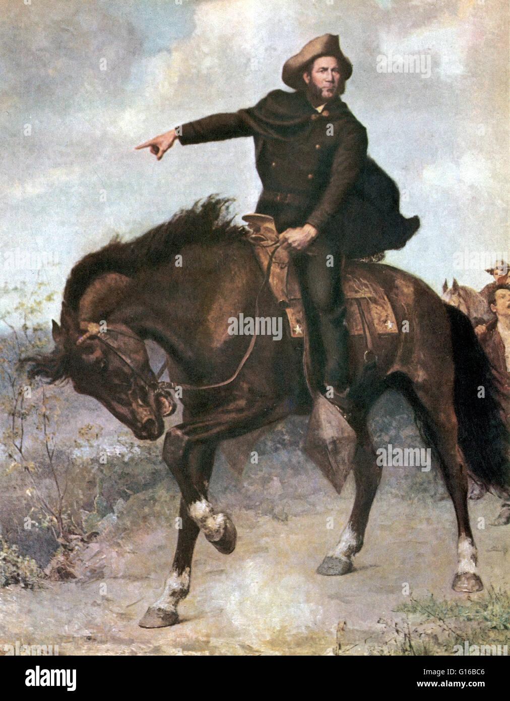 Le général Sam Houston à la bataille de San Jacinto en 1836, Peinture de S. Thomas Seymour. La bataille Photo Stock