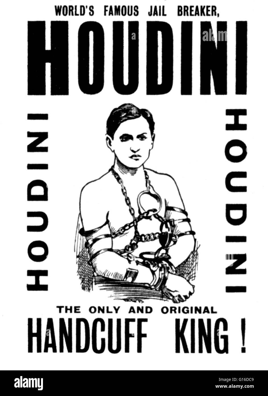 """Intitulé: """"avec la participation record de la célèbre prison breaker, Houdini le seul et original handcuff king Banque D'Images"""