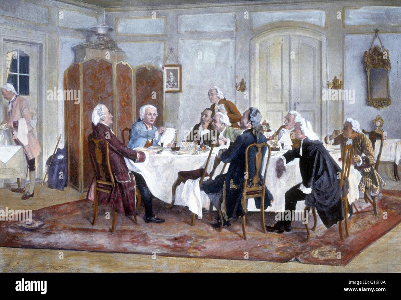 """""""Kant et ses camarades à la table' Emil Doerstling, 1900. Emmanuel Kant (Avril 22, 1724 - février Photo Stock"""