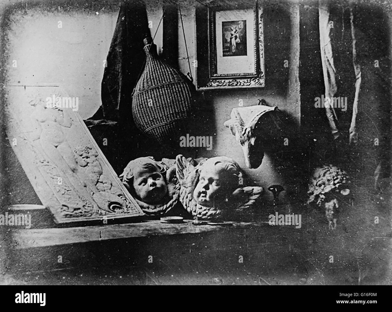 Plus tôt de Daguerre daguerréotype daté de façon fiable, une nature morte avec des plâtres, Photo Stock