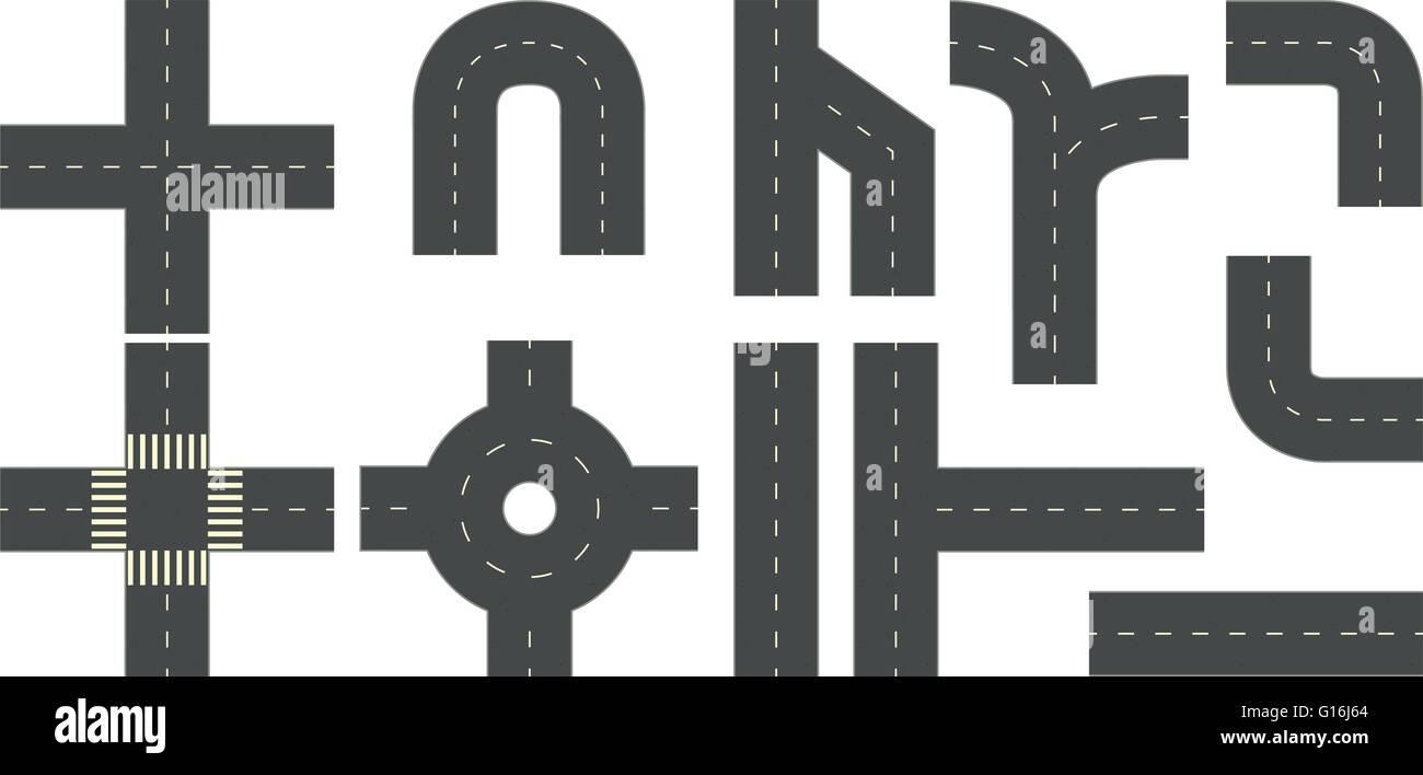 Routes et rues dans de nombreux différents coins Illustration de Vecteur