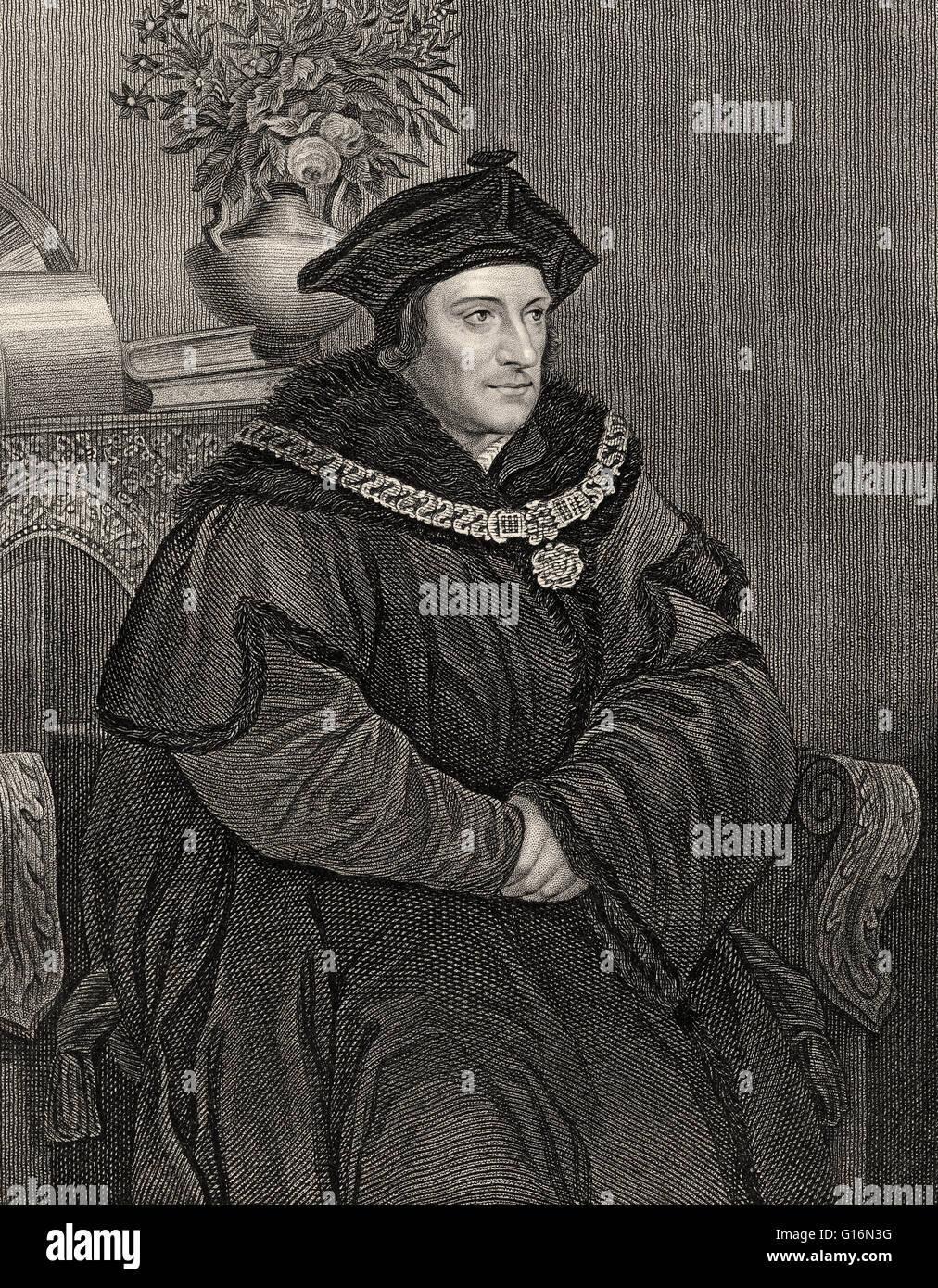 Sir Thomas More, Thomas Morus ou plus, 1478 - 1535, l'État anglais, écrivain humaniste et un saint Photo Stock