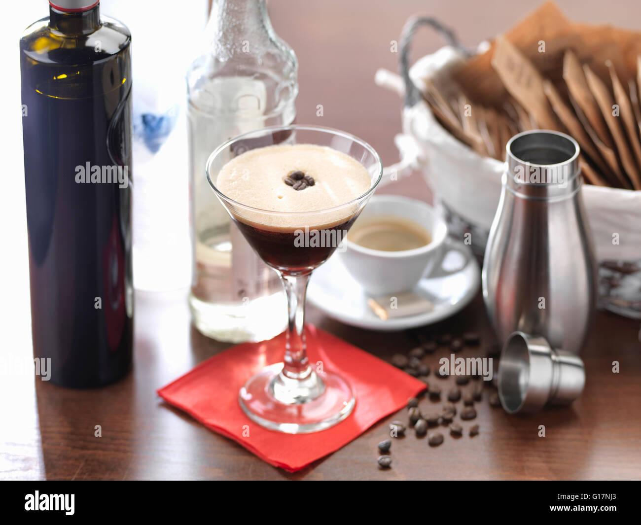 Boisson traditionnelle Italienne, l'Espresso martini Photo Stock