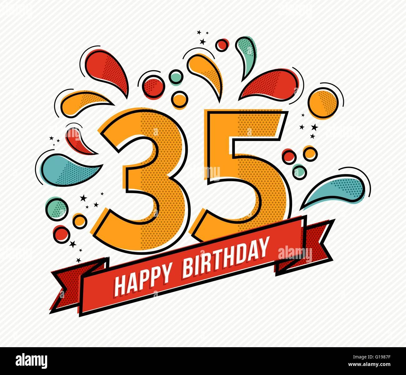 Joyeux Anniversaire Numero 35 Carte De Souhaits Pour Trente Cinq