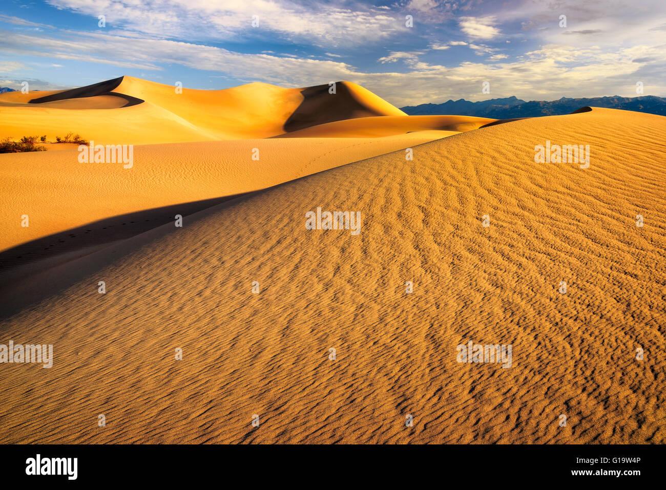 Dunes de sable au lever du soleil. Mesquite Dunes dans la vallée de la mort, Californie Banque D'Images