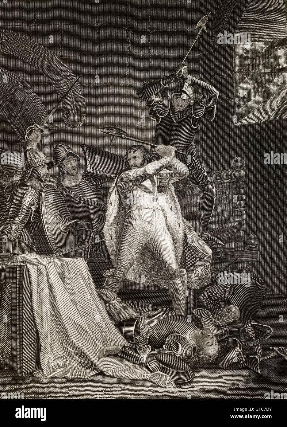 Décès de Richard II, la tragédie du roi Richard la deuxième, une pièce de William Shakespeare l'histoire Banque D'Images