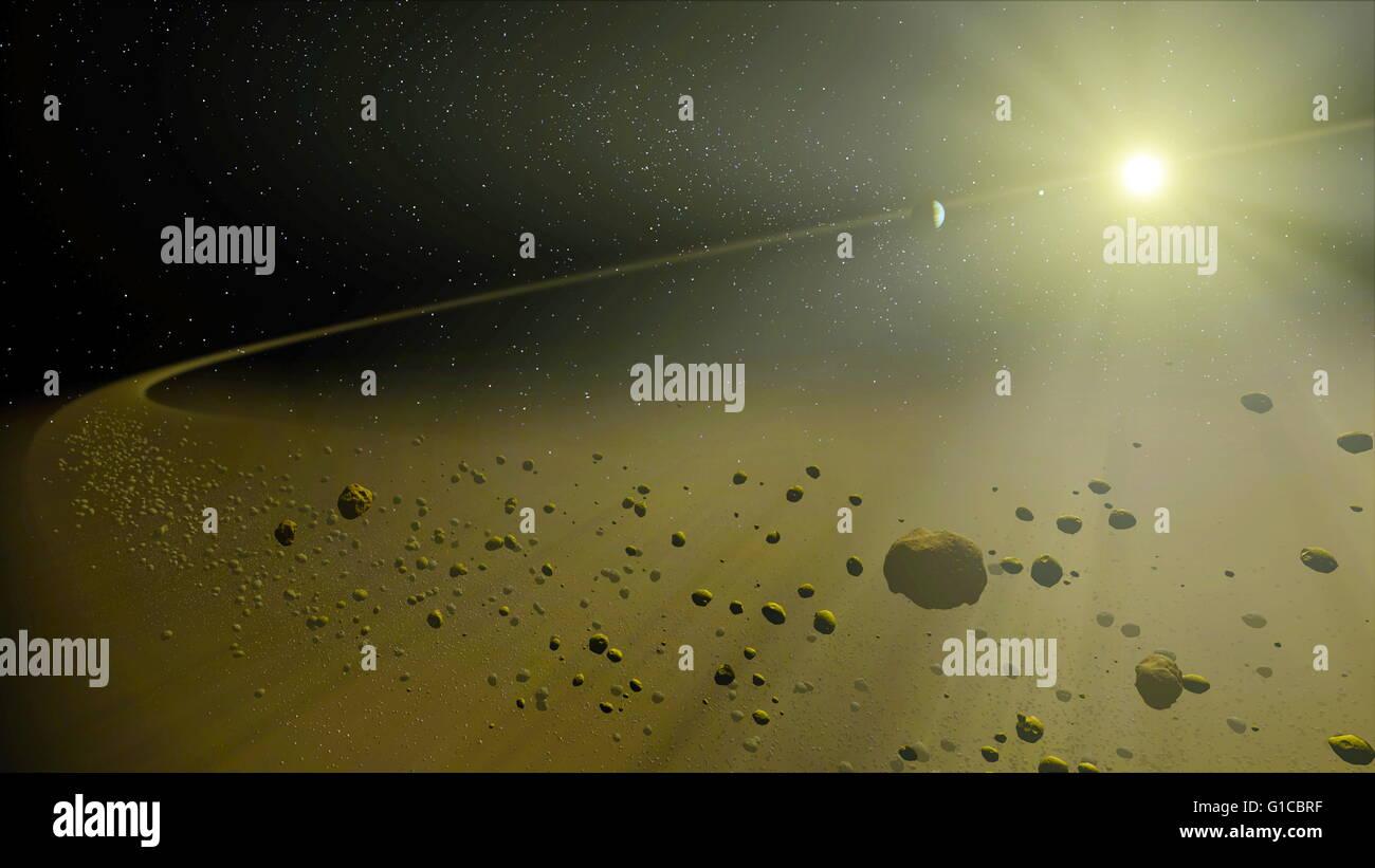 Concept de l'artiste dépeint un hypothétique système solaire lointain, semblable à l'âge Photo Stock