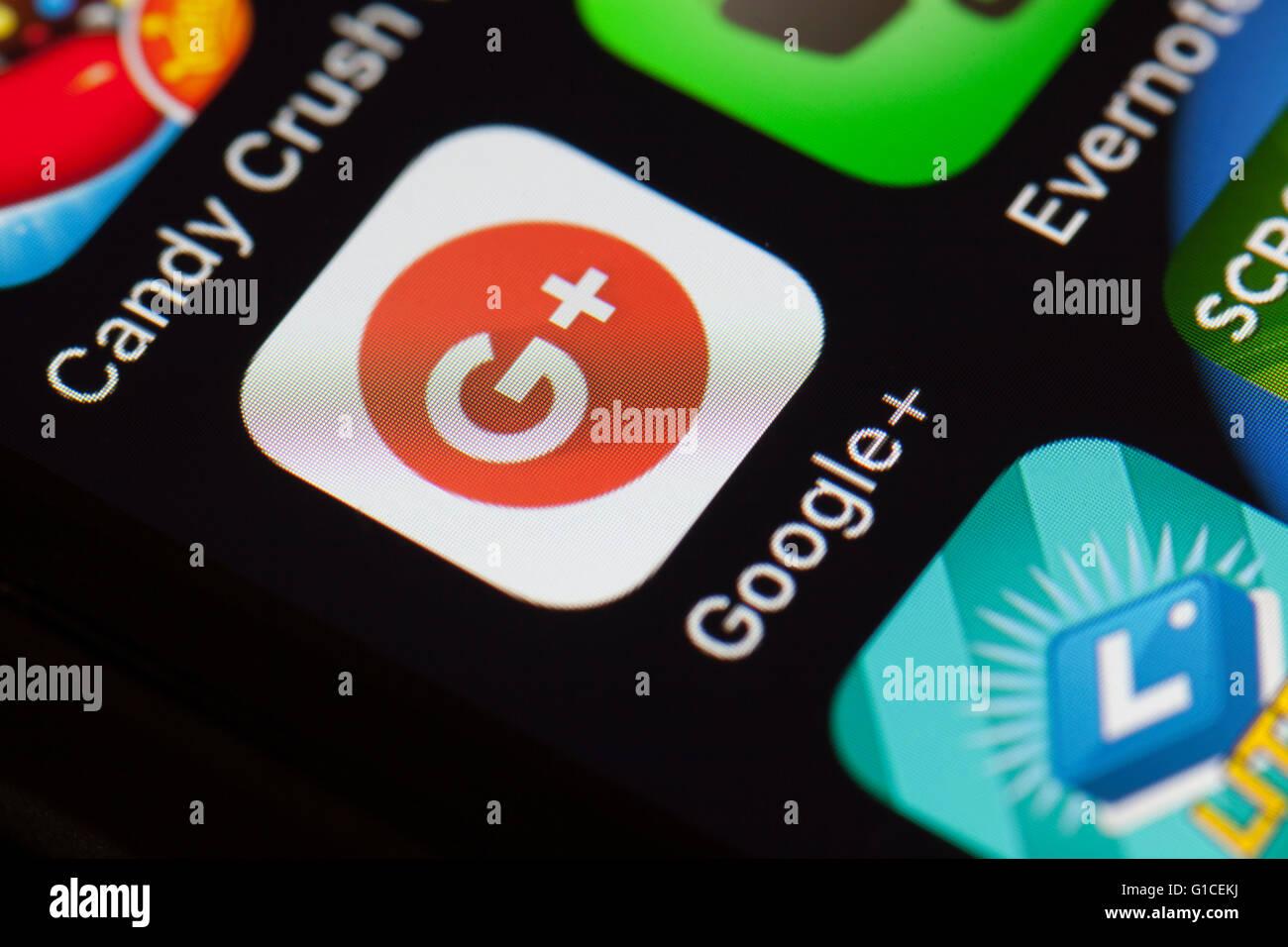 Icône de l'application Google+ sur téléphone mobile. Photo Stock