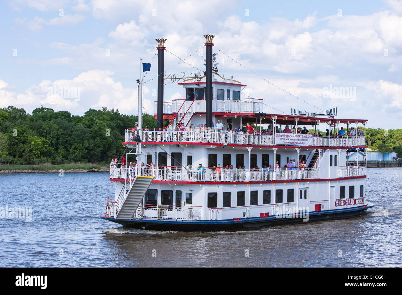 Savannah Riverboat cruises Géorgie 'Queen' l'Hôtel de Ville d'approches à l'atterrissage Photo Stock