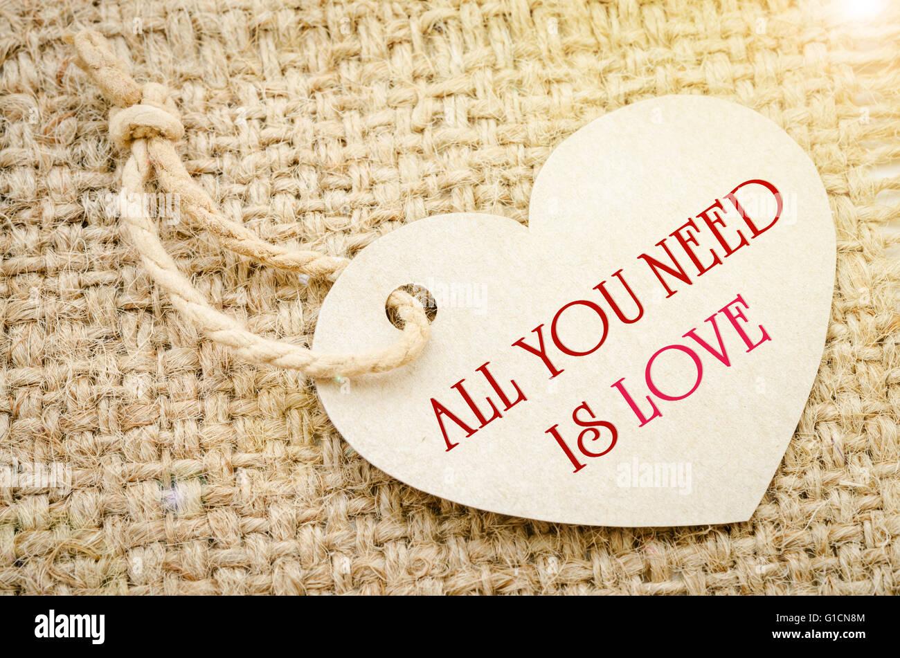 Tout ce qu'il vous faut, c'est l'amour sur du papier marron: tags Coeur de formes avec corde sur fond marron sac. Papier recyclé. Banque D'Images