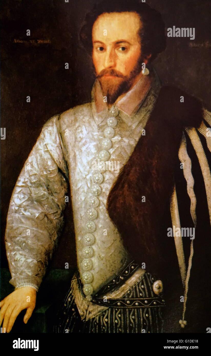 Portrait de Walter Raleigh (1552-1618)un gentleman anglais débarqué, poète, écrivain, militaire et politicien, courtisan, Banque D'Images