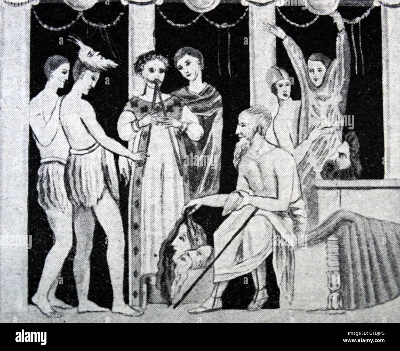 Mosaïque représentant une scène d'une pièce comique à Pompéi Photo Stock