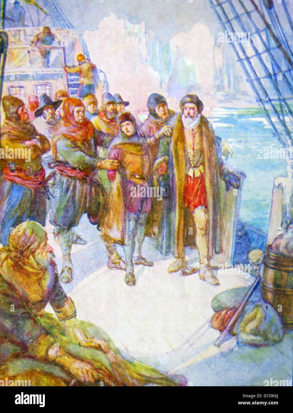 Peinture représentant des hommes qui essaient de tourner à la dérive d'Hudson sur les eaux glacées Photo Stock