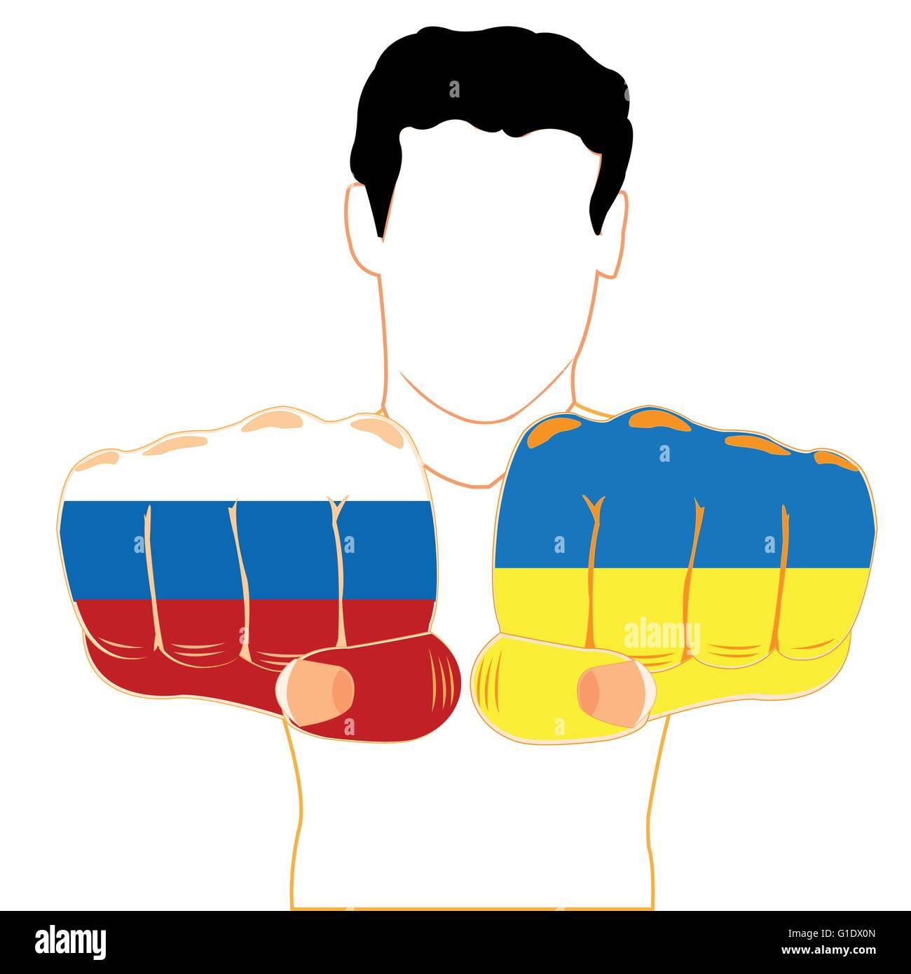Les hommes de silhouette avec onward fist peint en couleur du drapeau de l'Ukraine et la russie Photo Stock