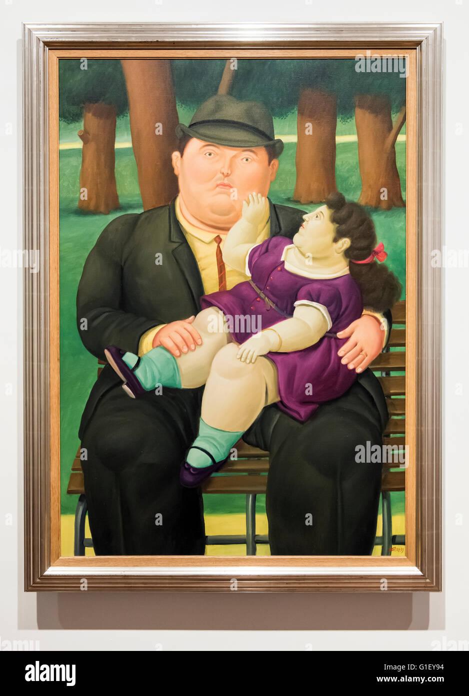 Peinture de père avec enfant par Fernando Botero Musée Botero à Bogota Colombie Photo Stock