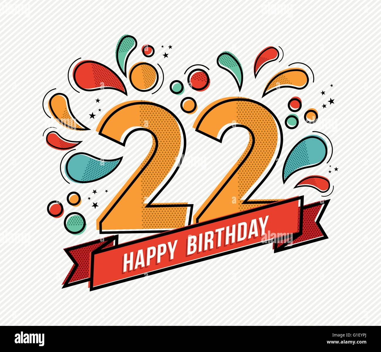 Joyeux Anniversaire Numéro 22 Carte De Souhaits Pour Vingt